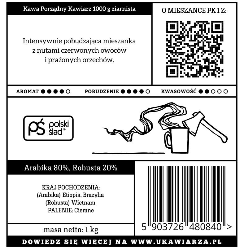 Kawa Porządny Kawiarz 2.0 80/20 1000g ziarnista