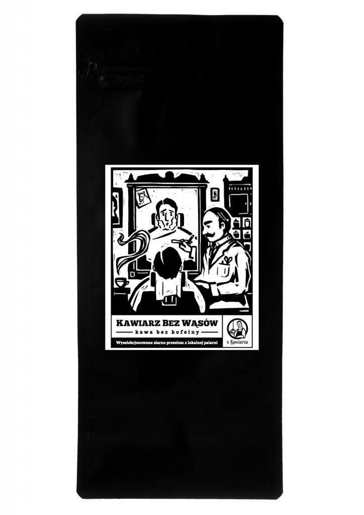 Kawa Kawiarz Bez Wąsów 100% arabika bezkofeinowa 1000g ziarnista