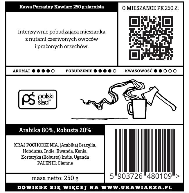 Kawa Porządny Kawiarz 80/20 250g ziarnista
